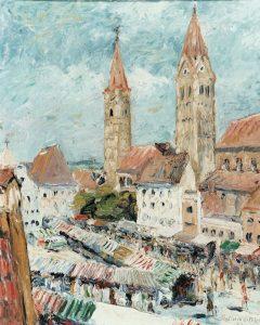 """Georg Hummitzsch - """"Markt in Mosburg"""" 1962"""
